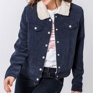 Corduroy Shearling Lined Cropped Jacket